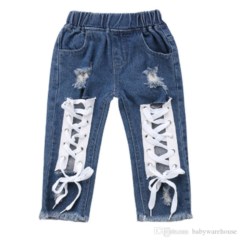 Fashion Toddler Kids Baby Boy Girls Bandage Denim Pants Ripped Hole Jeans Bottoms Long Pants Stylish Children Clothing