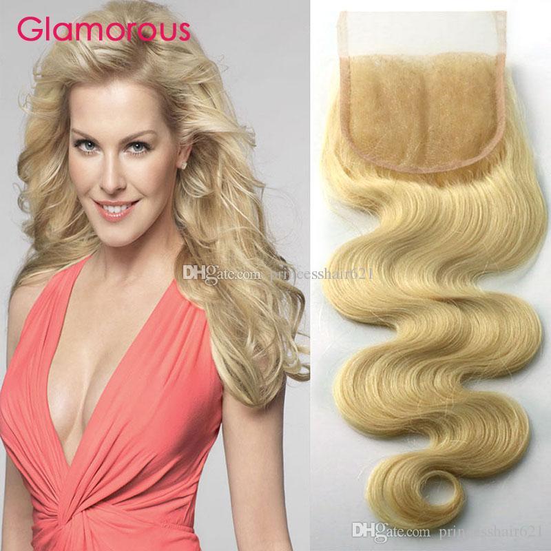 Cierre de encaje rubio de cabello humano brasileño con cabello bebé nudos blanqueados 4x4 Cierre de encaje Glamoroso # 613 Cierre de encaje de onda de cuerpo recto