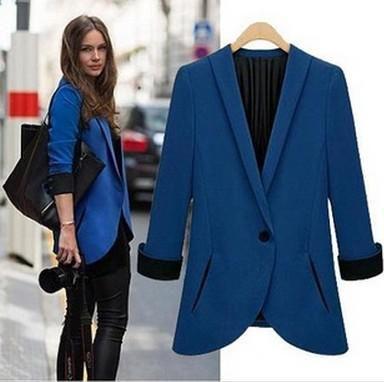 Terno 2014Tops Moda Womens Túnica dobrável manga forrada listrado Jacket xale cardigan Brasão um botão