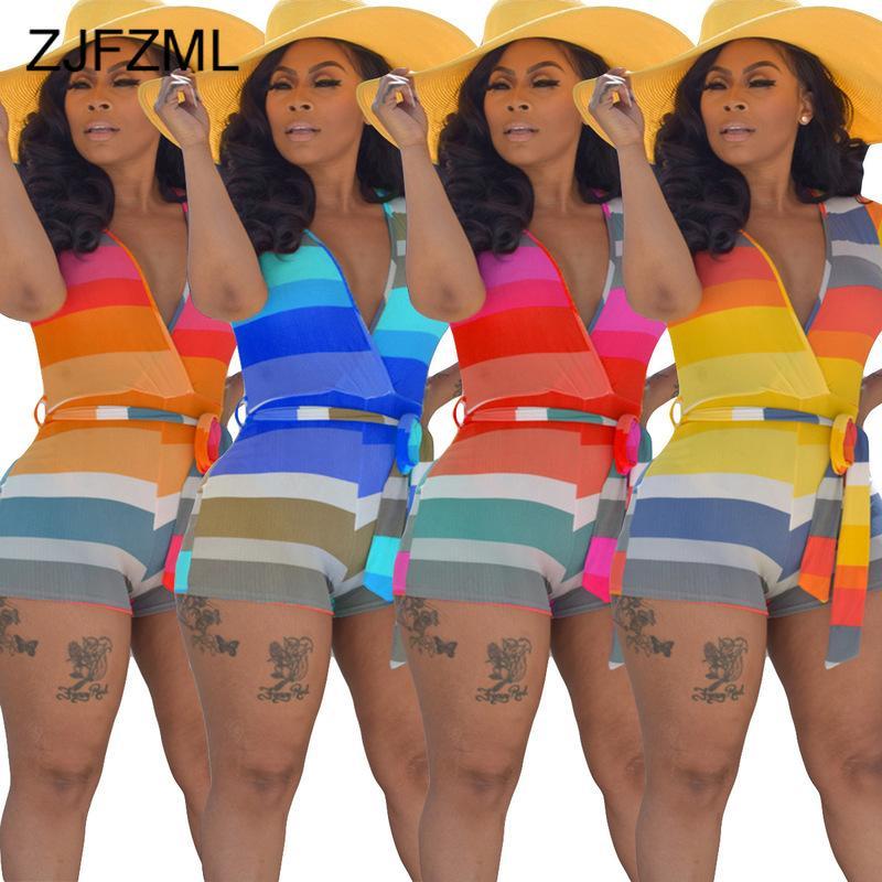 Cintura alta Verão One Piece Clube Outfit Mulheres listrados coloridos Imprimir Bodycon Playsuit Vintage Female Pescoço V manga curta macacãozinho