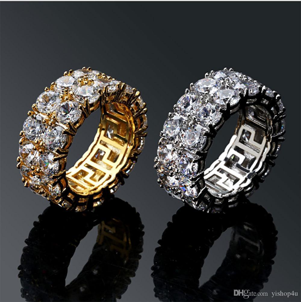 Para hombre Fila 2 heló hacia fuera 360 Eternity Anillos del oro de Bling Micro Pave de Oro circonio cúbico 18K diamantes simulados Hip hop anillo con caja de regalo
