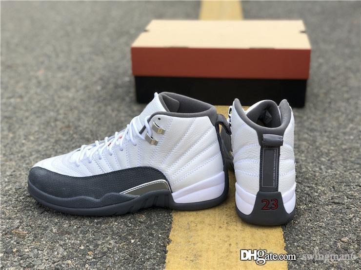 Mais quentes Best Air autênticos 12 Dark Gray Branco tênis de basquete reais retro de fibra de carbono 12S Homens Desportos Sneakers 130690-160 Com Box