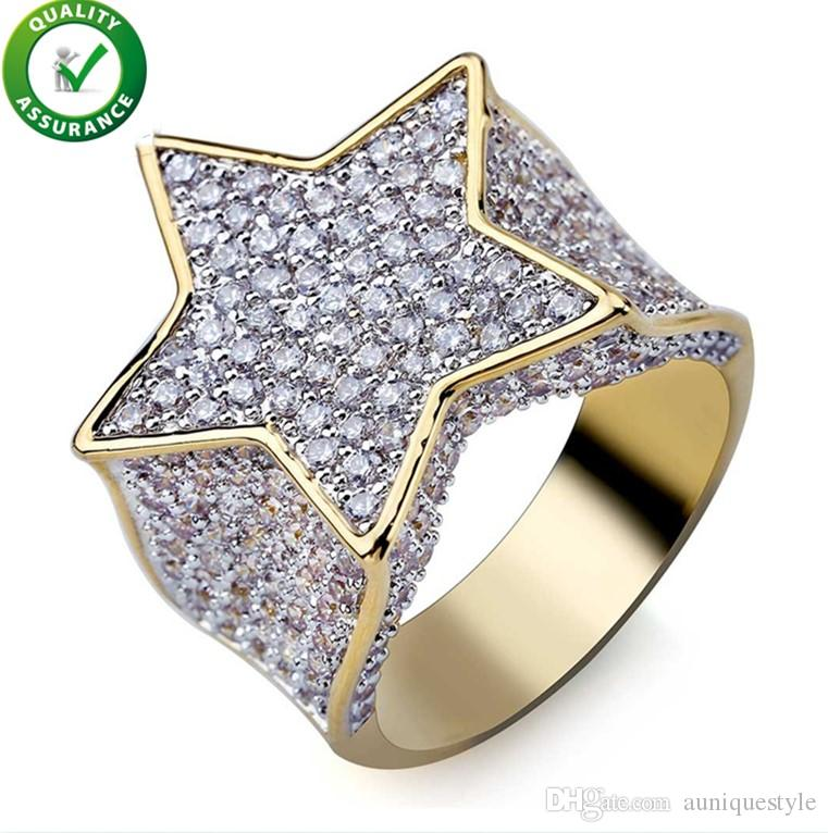 Mens Diamond Rings Hip Hop Jewelry Luxury Designer Iced Out Promise Gold Ring Micro Paved CZ Bling Band Punk Finger Ring Wedding Accessories