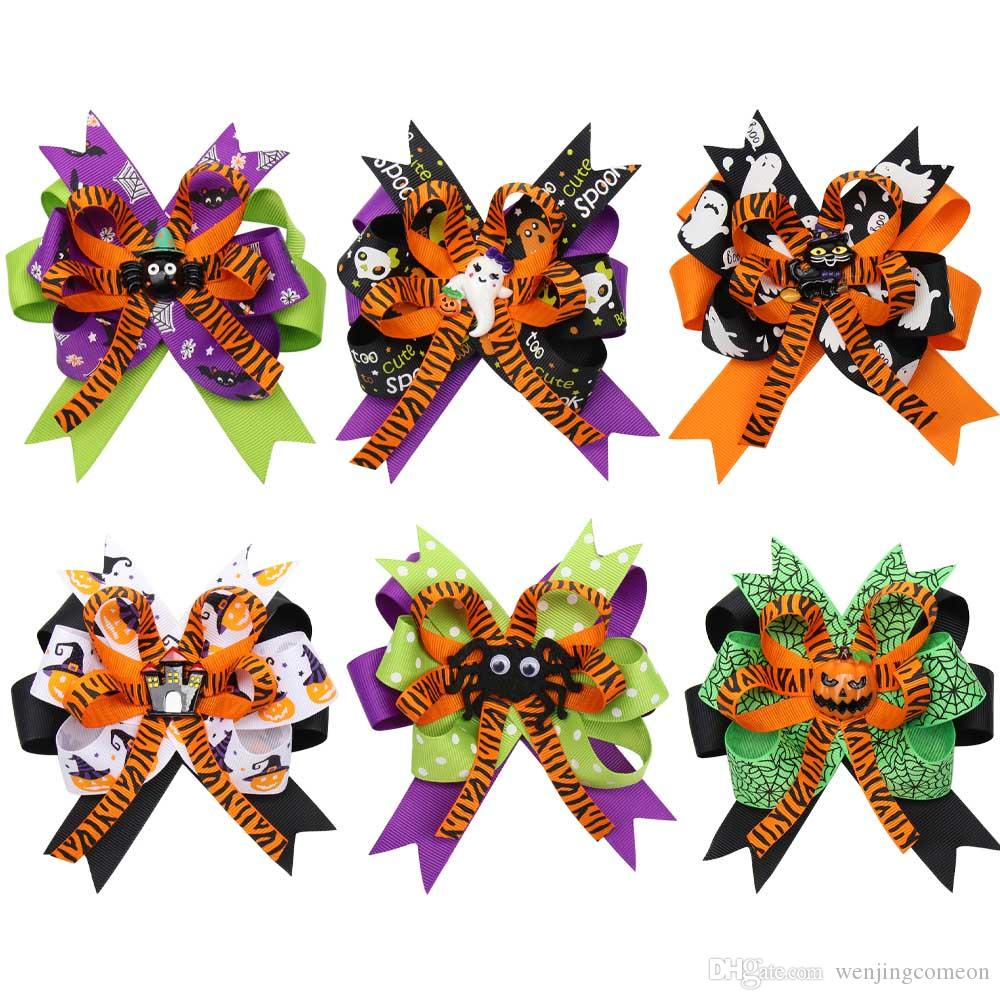 """2019 4.5"""" Halloween Ribbon Hair Bows For Girls Kids Printed Hair Clips Cute Patches Hairpin Festival Party Hair Accessories"""