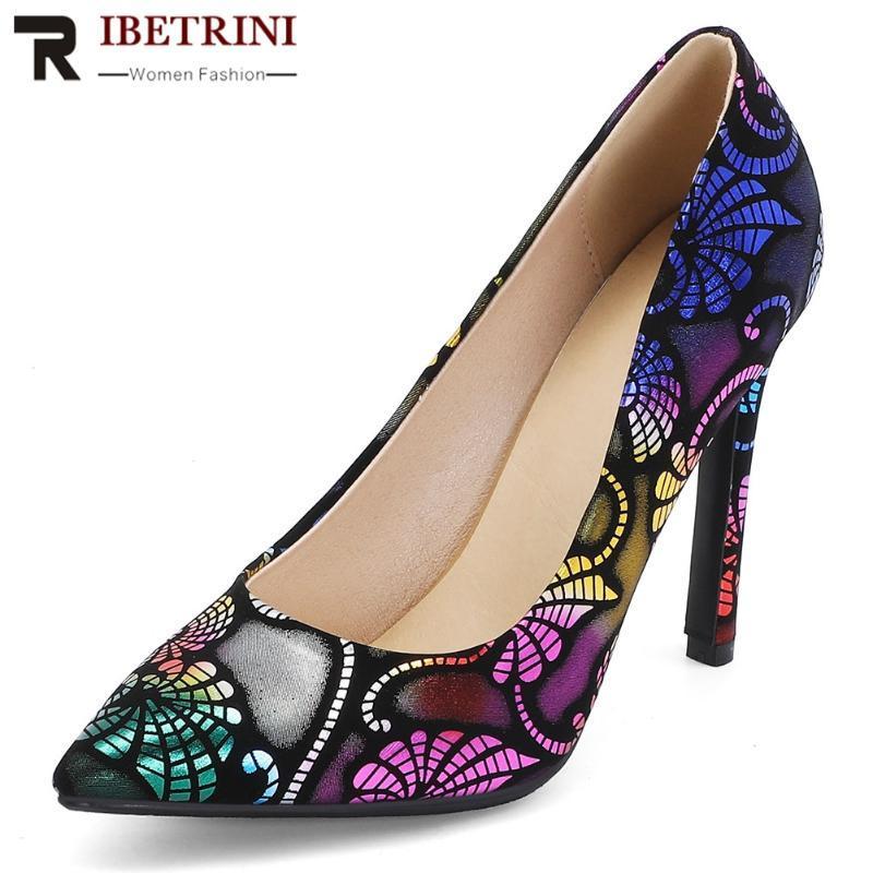Zapatos de vestir ribetrini femenino femenino moda colorido impresión mujer elegante chaleco bombas fiesta bombas mujeres fresco alto tacones delgados