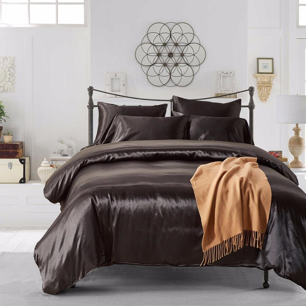7 Colors Solid Color Satin Faux Silk Bedding set Duvet Cover set Bed cover US Twin Queen King UK Single Double King 2/3/4PCS30