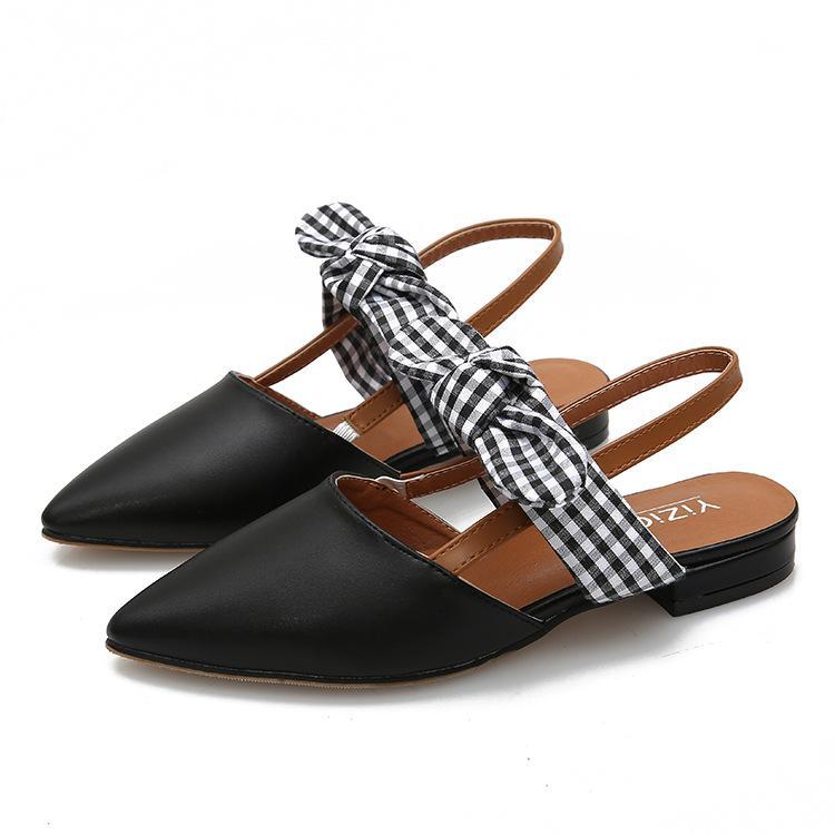 Bow Tied Summer Shoes Women's sandal Pointed Toe Leisure Long Dress slide 2018 Ladies Slides Footwear Female
