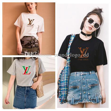 HOT 2019 Sommer Designer T Shirts Für Frauen Tops T Shirt Herrenbekleidung Marke Kurzarm T-shirt Frauen Tops M-XXL