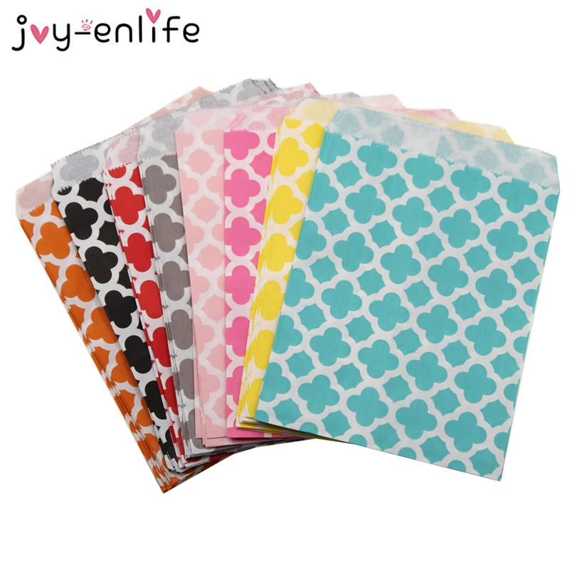 """25pcs 5 """" x7 """" ملون Chevron/flower Grease Paper Bags For Baby Dashh Wedding Decoration Birthday Party Supplies"""