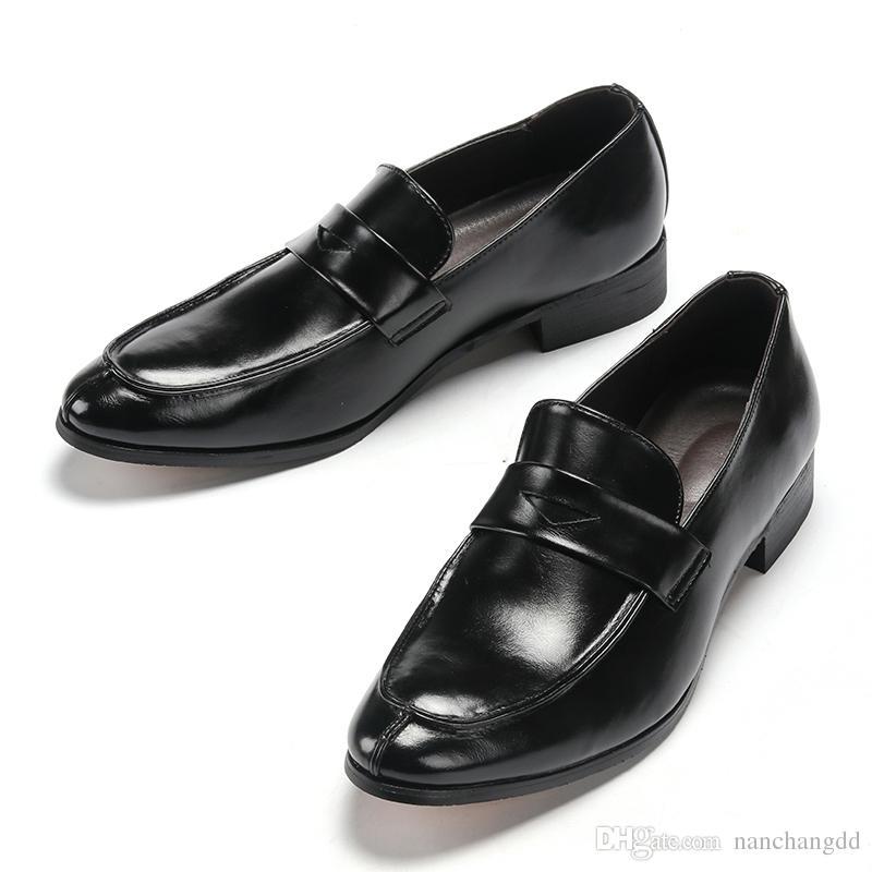 Homens de couro social adulto vestido de moda de luxo designer de condução mens sapatos casuais