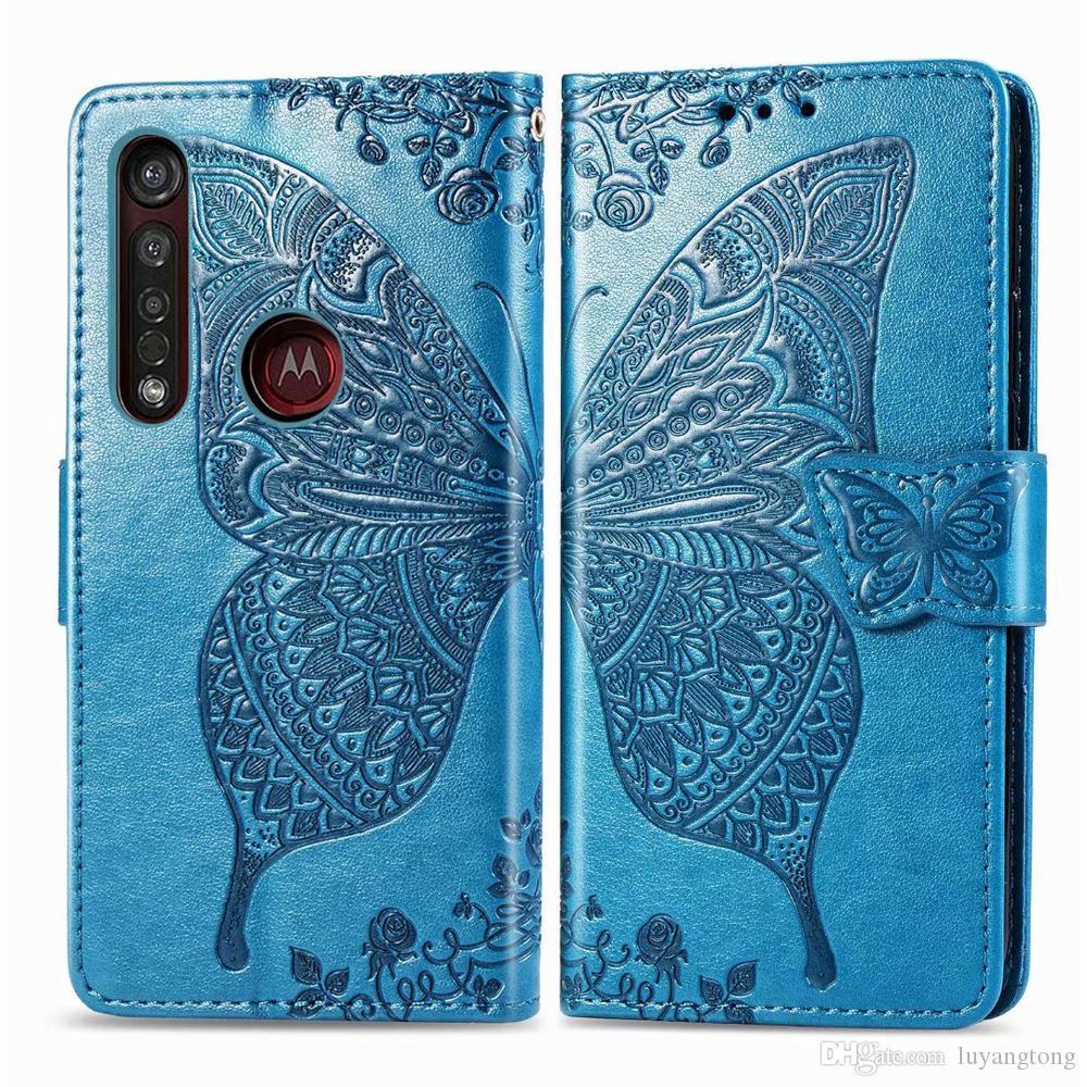 10 PC / porción de cuero del tirón del caso para Moto G8 más las cajas de carpeta de la flor de la mariposa 3D cubierta para Motorola G8 más cubierta del teléfono de Coque