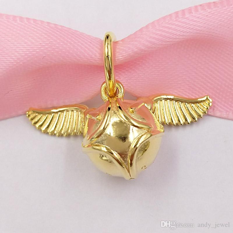 Autentico 925 perline in argento sterling 925 ERRY POTER, Charms del pendente di Snitch dorato Adatto Bracciali europei di gioielli in stile Pandora Collana 36861