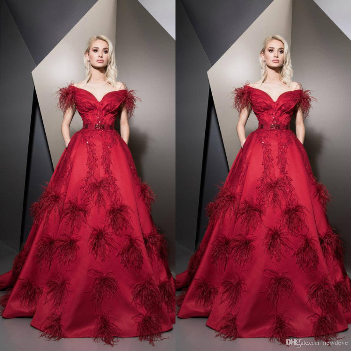 Ziad Nakad 2019 Prom Dresses Off Shoulder Feather Beaded A Line Evening Dress Floor Length Formal Party Gown Special Occasion Gowns