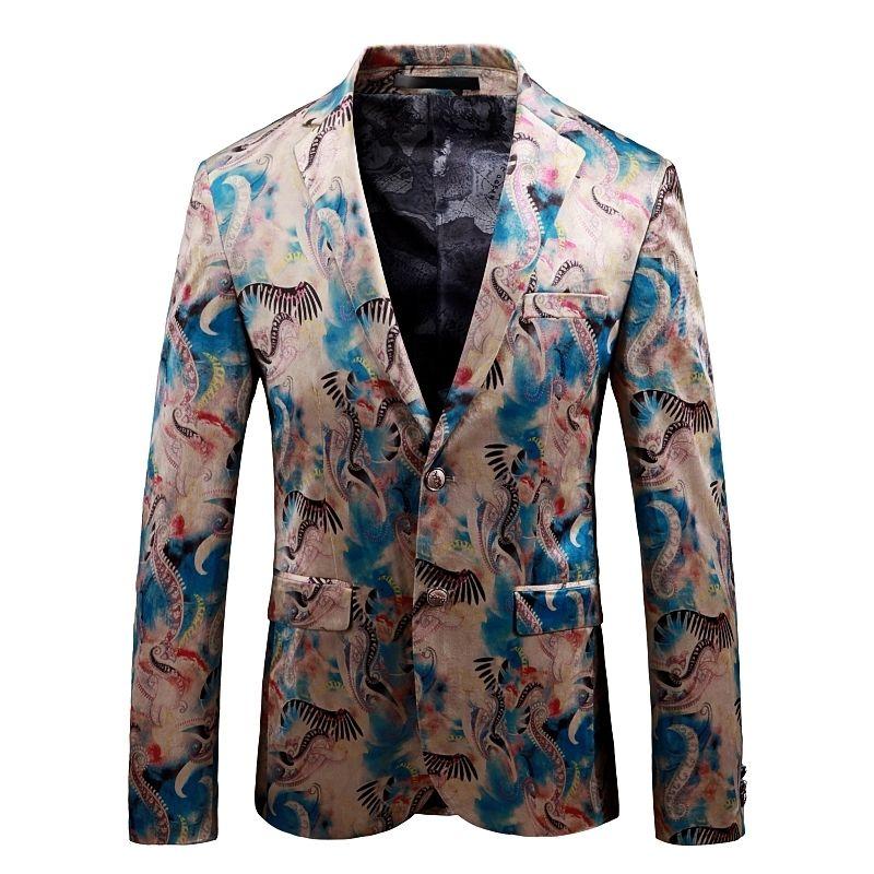 Casual Dress Suit Slim Fit Men Blazer New Pattern Fashion Flower Blazer Masculino Gentlemen Business Formal Dress Suit Jackets