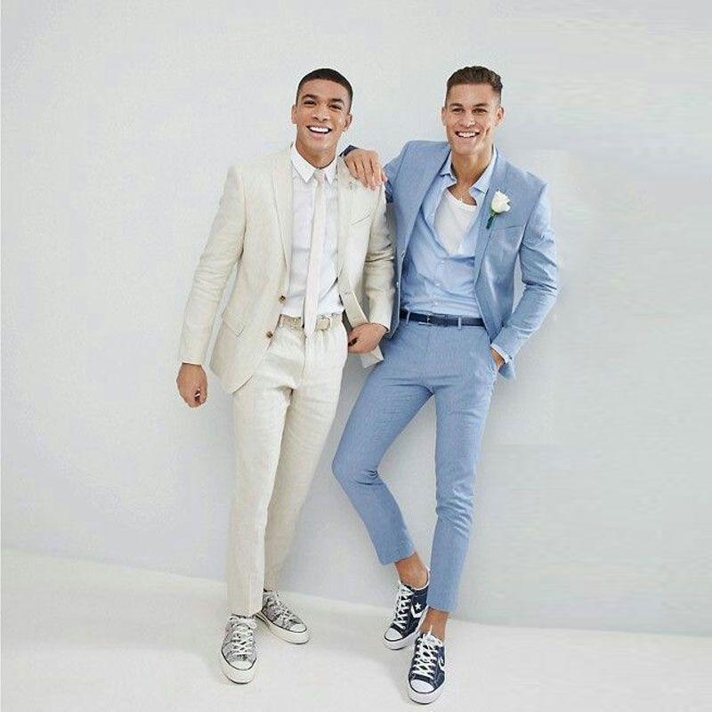 Summer Ivory Man Blazer Jacket Blue Business Coat Pants Skinny Notched Lapel Costume Homme 2Piece Slim Fit Best Man Suit Mens Wedding Suits