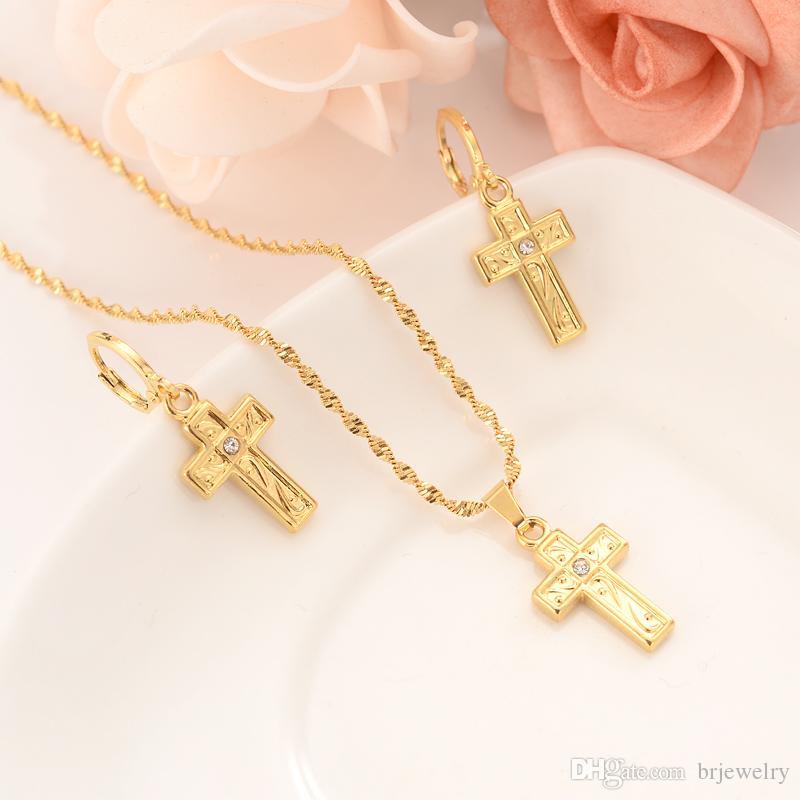Dubai India África oro moda cruz escultura conjunto diamante colgante boda novia personalidad esencial pendientes, collar joyas regalos