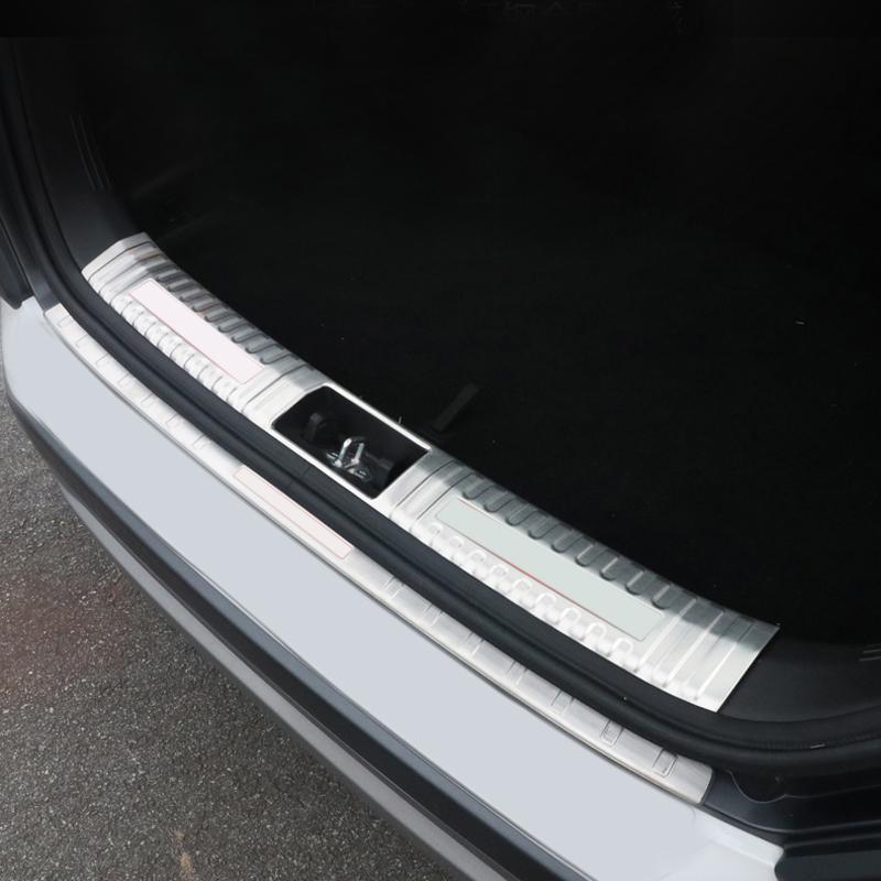 자동차 스타일링 액세서리 2 개 스테인레스 스틸 내부 + 외부 후면 범퍼 보호 가드 플레이트 커버 트림 현대 코나 2017 2018
