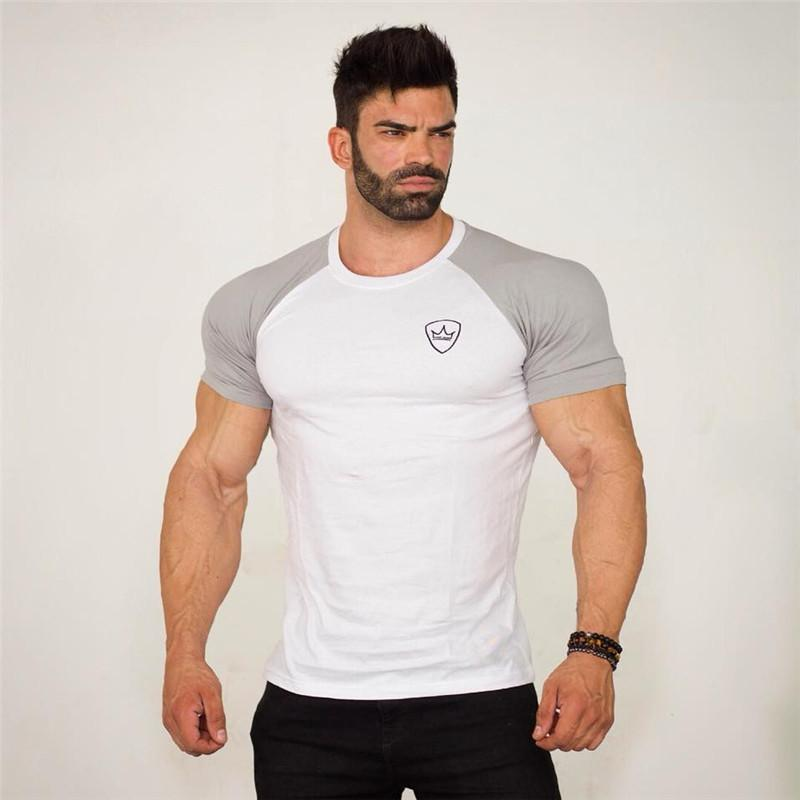 Men's T-Shirts 2021 Summer Mens Gyms Casual T Shirt Fitness Bodybuilding Print Tight Fashion Male Short Cotton Clothing Tee Tops 5 Color