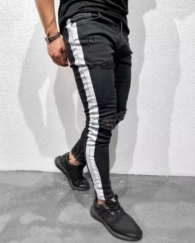 Jeans Mens Clothing Fashion High Street Knee Holes White Striped Designer Black Jeans Slim Fit Ripped