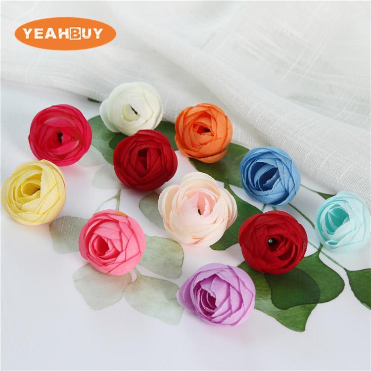 200 sztuk 3.5 cm Sztuczne Kwiaty Głowy Małe Herbata Bud Kwiaty Jedwabne Róże do Ręcznie Made DIY Head Ring Ringband Garlands Wedding Home Decoration