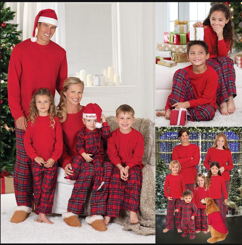 Mais recente Natal Pijama Familiares olhar Natal grade impressa Roupa Sets Casa Pijamas Conjuntos família Matching Roupa Define Mesma roupa
