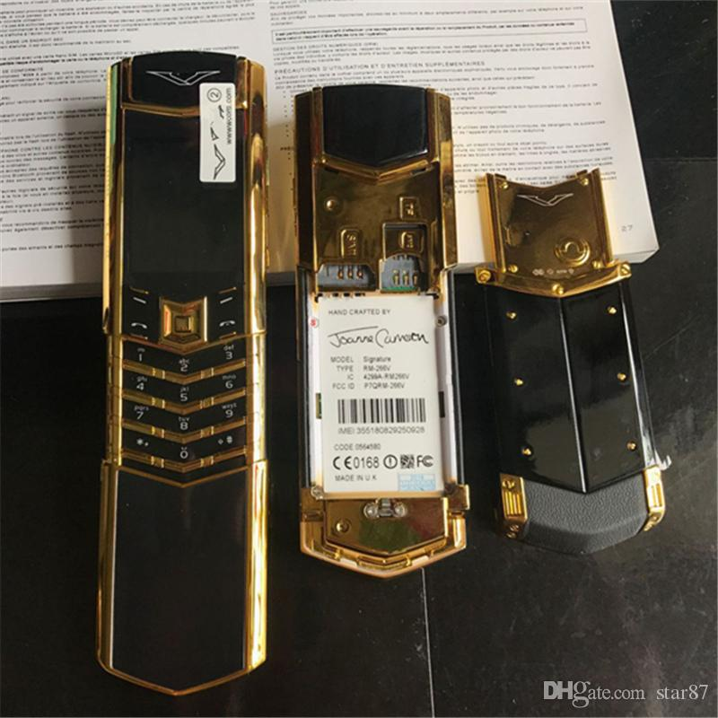 مقفلة الذهب الفاخرة الكلاسيكية التوقيع المنزلق المزدوج سيم بطاقة الهاتف المحمول الفولاذ المقاوم للصدأ الجسم بلوتوث 8800 المعادن السيراميك الهاتف الخليوي