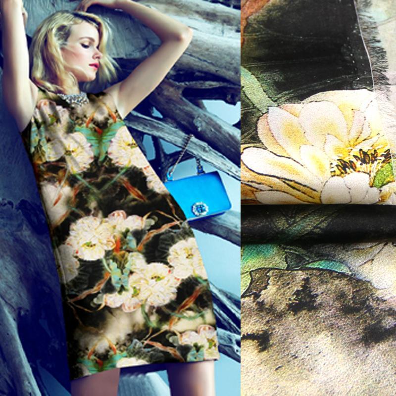 Breite 118cm 19MM 93% Seide 7% Spandex Big Blumendruck Stretch wunderschöne Seide Satin-Gewebe für Kleid Cheongsam Hemd-Jacken-D1095