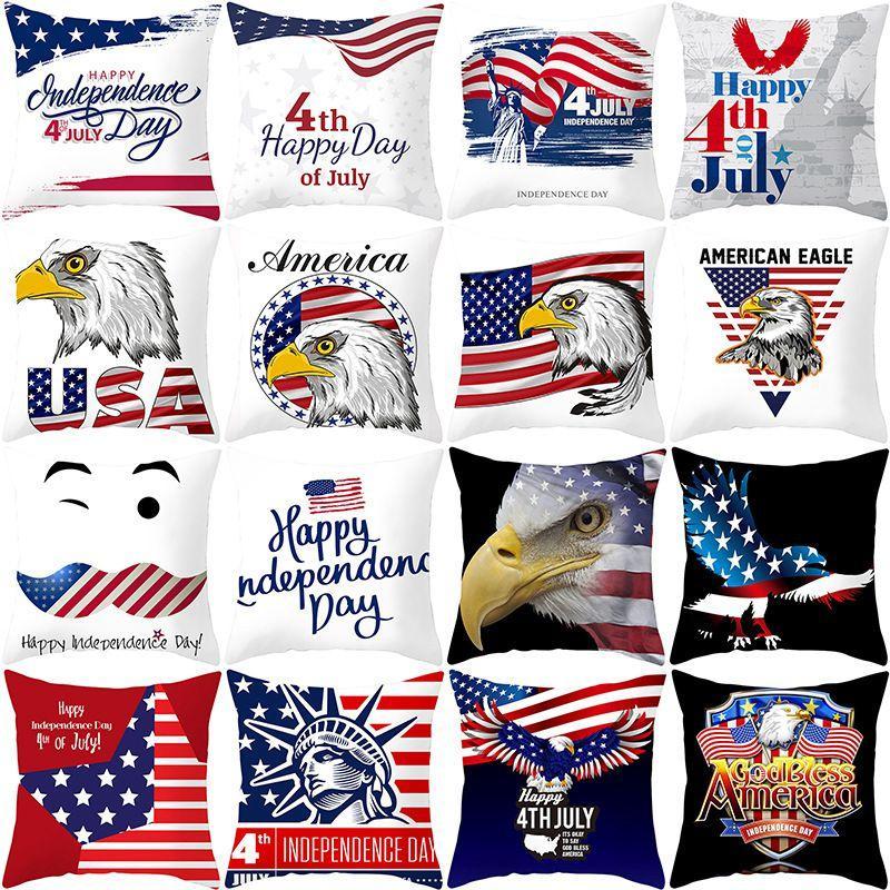 45 * 45 سنتيمتر الاستقلال الأمريكية يوم وسادة القضية أريكة وسادة غطاء usa flag printted ديكور المنزل وسادة غطاء HHA602