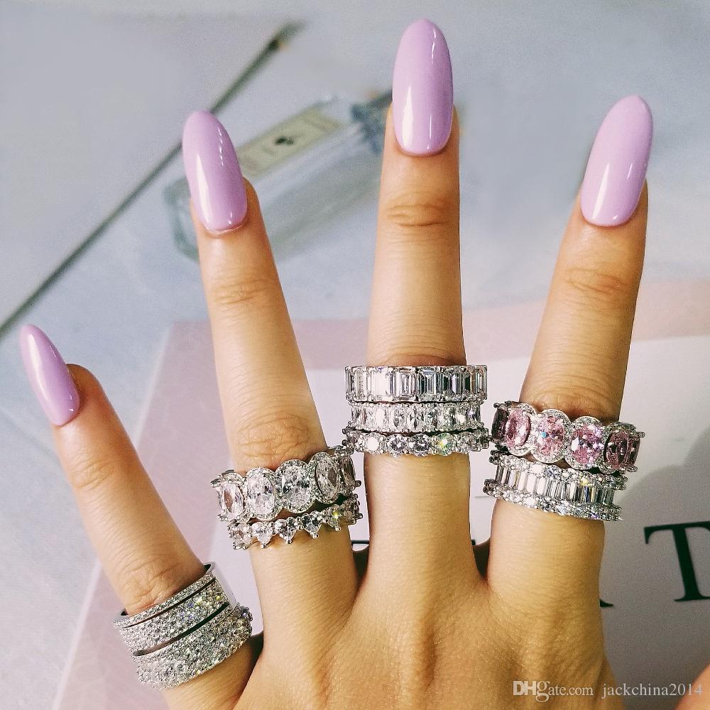 Dropshipping Bijoux de luxe 925 Sterling Sterling Multi style Blanc Topazz CZ Diamond Gemstones Eternity Femmes Bague de mariée pour les amoureux