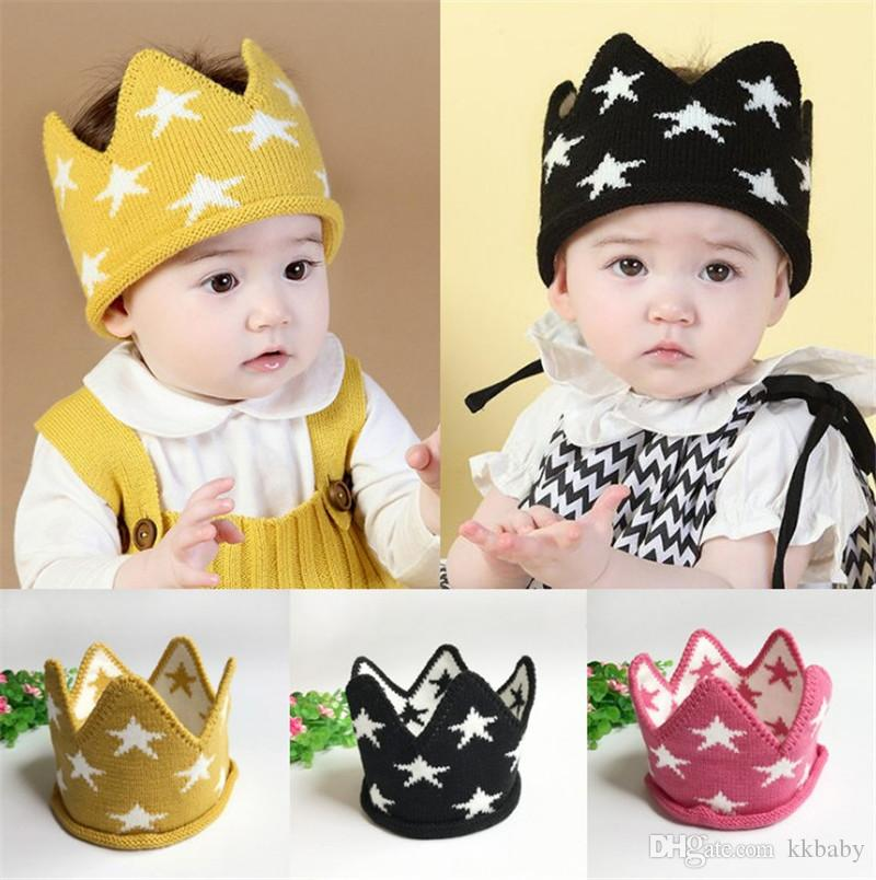 Autumn Winter Infant Baby Knitted Crown Hat Kids Crochet Headband Cap Children Birthday Party Beanies Boys Girls Knitting Hats 42x12cm