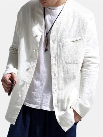 Рукав Summer Casual Мужская одежда Мода Дизайнерская Красивый рубашки Сплошной цвет мандарин воротник рубашки льняное Длинные