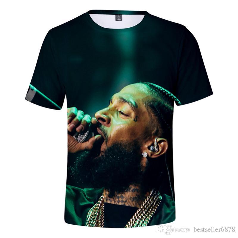 Hop Kurze Nipsey T Drucken Heiße Hüfthülse Männer / Frauen Streetwear Kurzes Hussle Rapper Hemd T-shirt Nipsey Husse Cooler Harajuku FVXSP