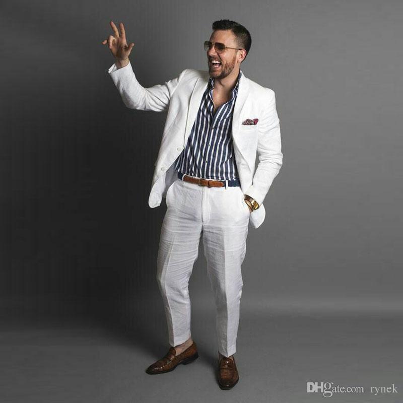 White Linen Men Tuxedos Wedding Suits for Man Notched Lapel 2Piece(Coat+Pants) Slim Fit Costume Homme Prom Party Best Man Blazers Jacket