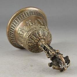TRABAJO DE LATÓN ESTADO DE EXORCISMO MARTILLADO DECORACIÓN DE CAMPANA EXCELENTE artesanía de bronce Escultura de cobre decoración del hogar