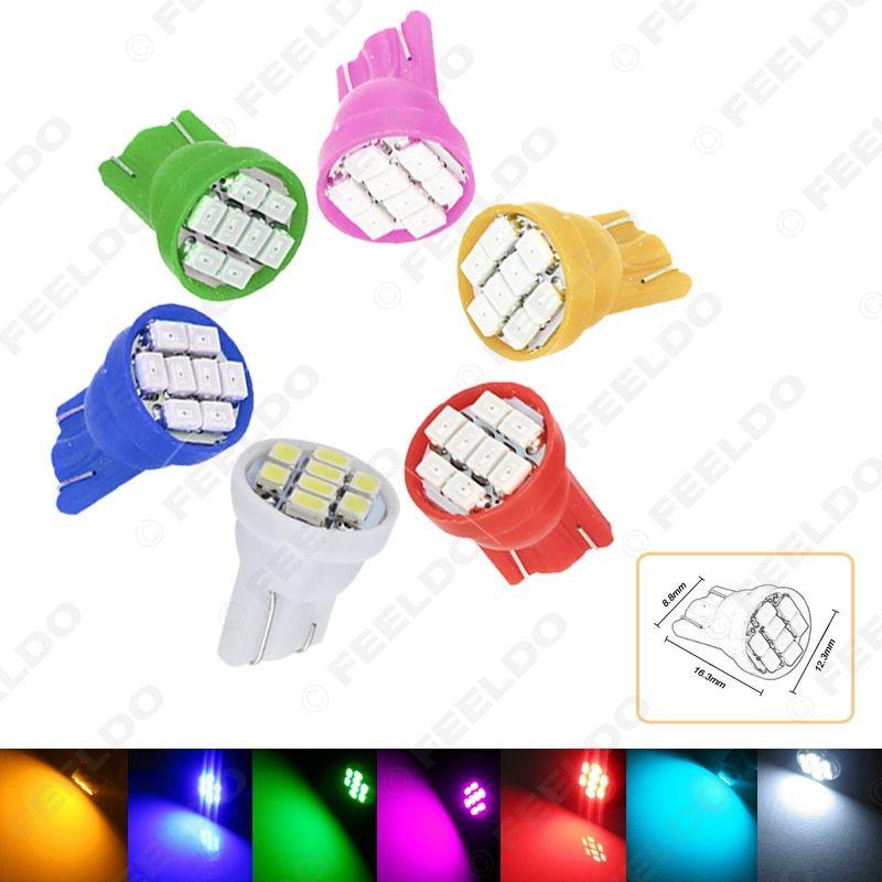 50шт высокой мощности 7-Color T10 194 168 1206 Чип 8SMD Клин Base Автомобильные светодиодные лампы # 2615