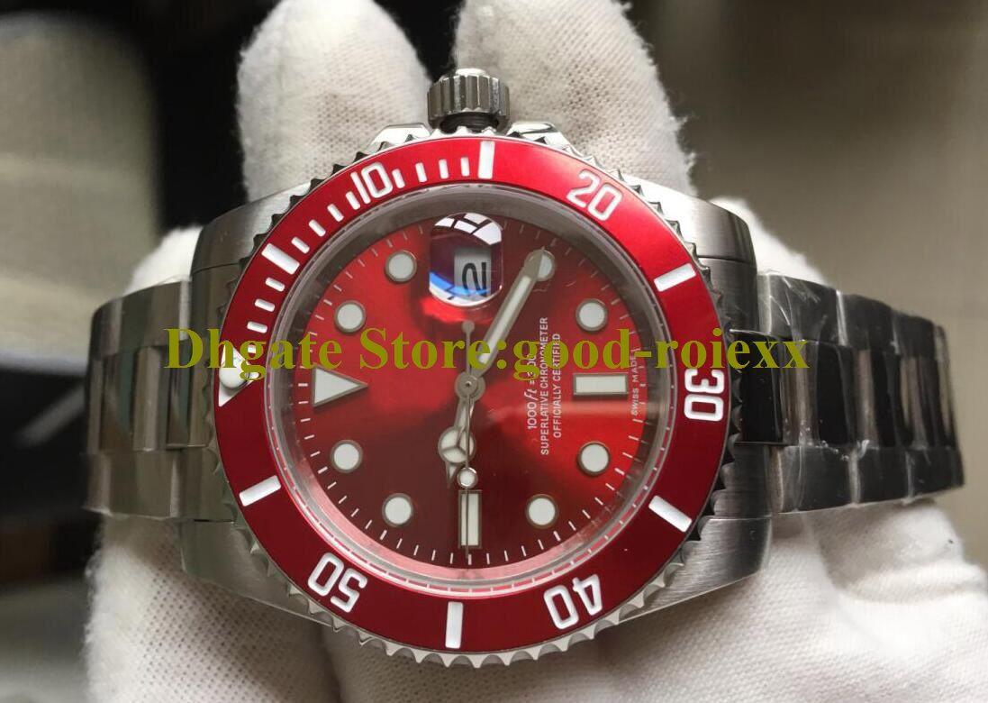 Top qualité Mens automatique Japon Couronne Mouvement Montre Homme cadran rouge plongée Chronometer Cristal Montres Sport Plein acier 116610 Montres-bracelets