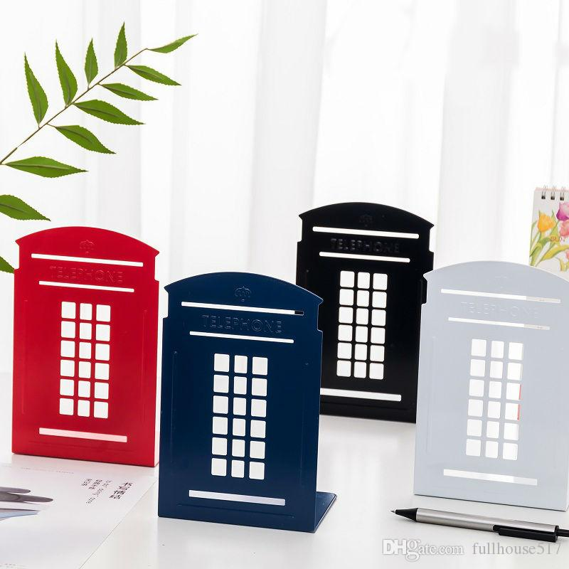 Telephone Booth Metal Bookends book stand Shelves Decorative Nonskid Decor for Desk Library Office back to school Desk Organizers