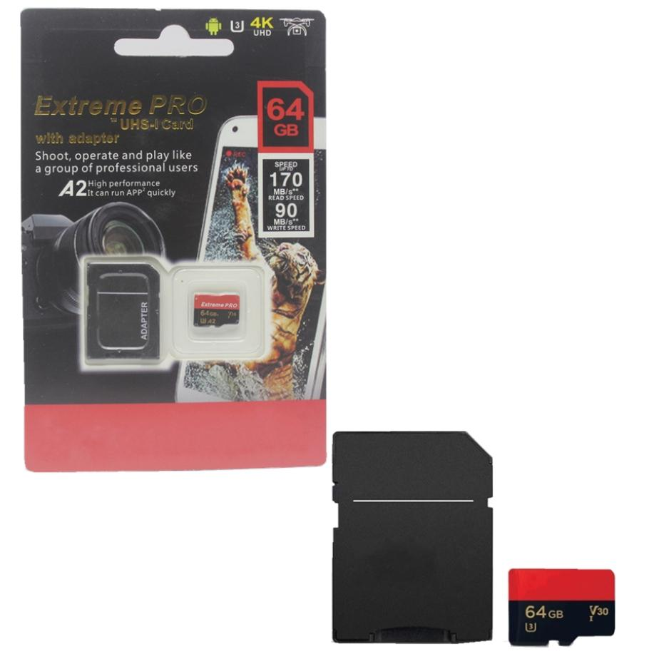 2020 NEW A2 the lastest 128GB 256GB 64GB 32GB 16GB SD card Micro TF card With Adapter Blister Generic Retail Package 30pcs