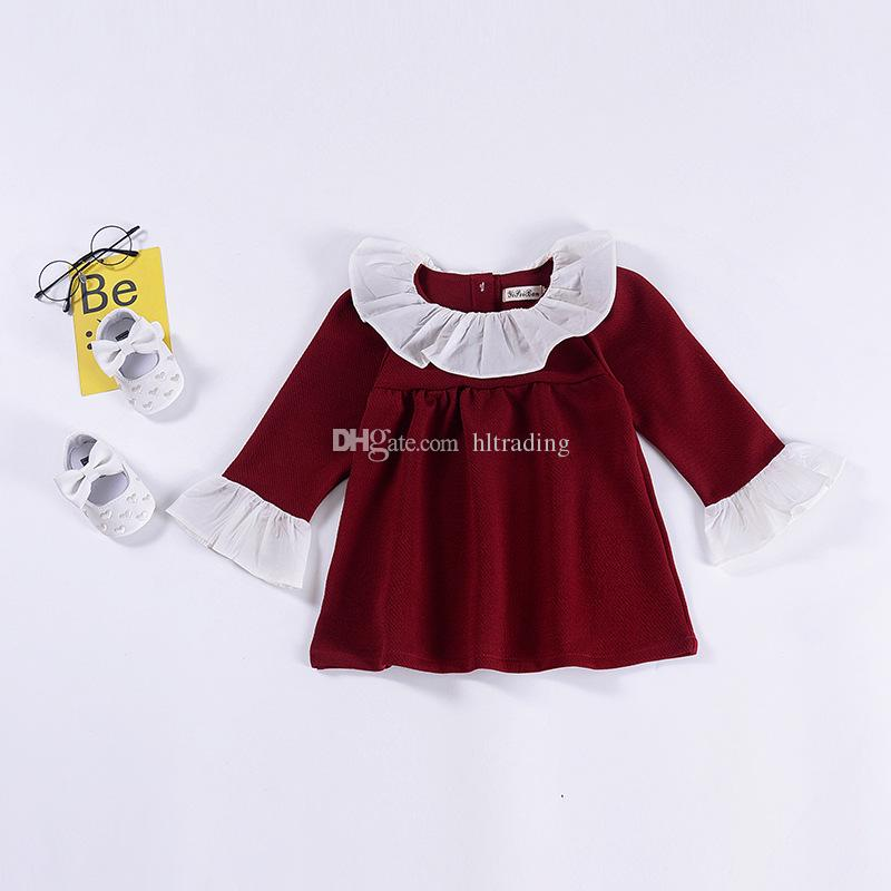 Meninas do bebê Ruffle gola de renda vestido de crianças Puff Sleeve vestidos de princesa 2019 primavera outono Moda boutique Crianças Roupas C5694