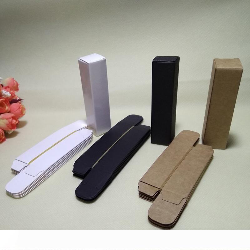 100pcs- 2*2*8.5cm Black White Box Kraft Paper boxes for Lipstick Essential Oil Perfume Sprays party gift box