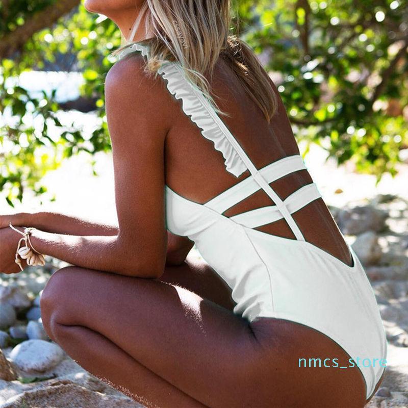 Una pieza atractivo del traje de baño traje de baño de las mujeres de neón rizado vendaje del bañador femenino sin espalda Body brasileña Monokini ropa de playa JH01