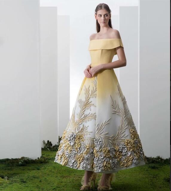 Evening dress Yousef aljasmi Labourjoisie Zuhair murad James_paul1 A-Line Bateau Short Sleeve Light Yellow Ployester Apliqued Long Dress