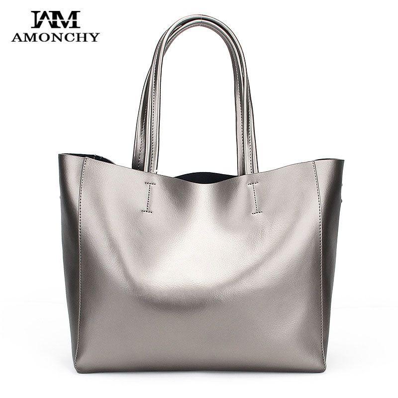 Ombro AMONCHY couro genuíno Mulheres Totes Bolsas de bezerro das mulheres grandes sacos Composite saco para Commute Handbag