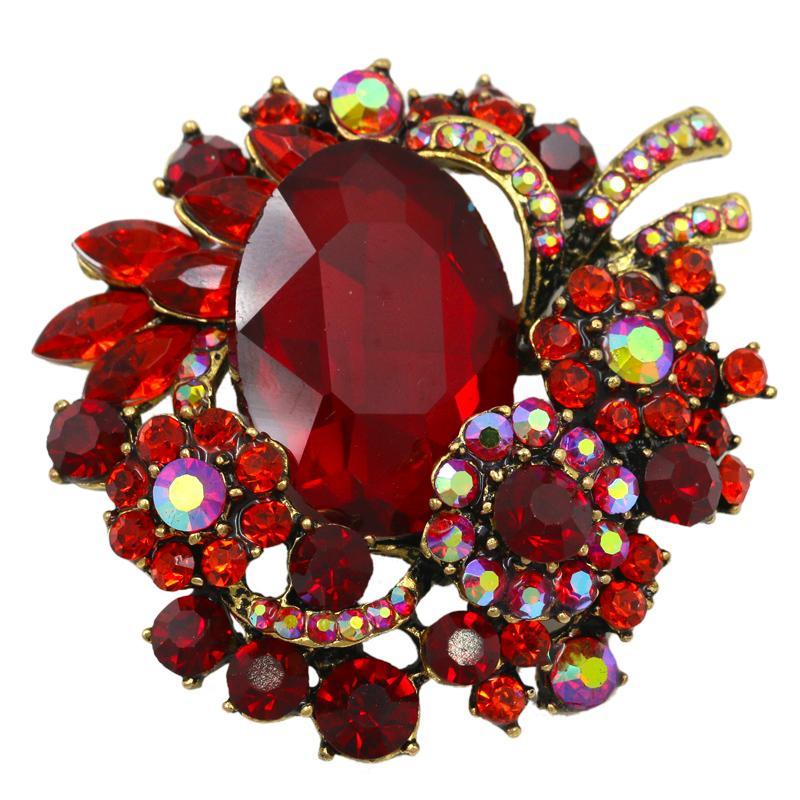 Vintage Style Кристалл Стразы и Большой акриловый камень Красный Брошь штыри для женщин Аксессуары для украшений Pins элегантной свадьбы 10pcs / lot