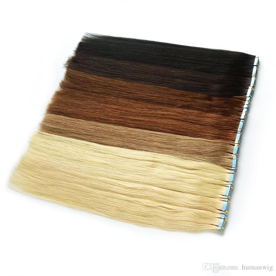 Tape in Hair Extensions 100% Remy Human Hair Double Side Tape Seamless Skin Weft Natural Hair Extensions 40pcs Long Straight Silky for Women