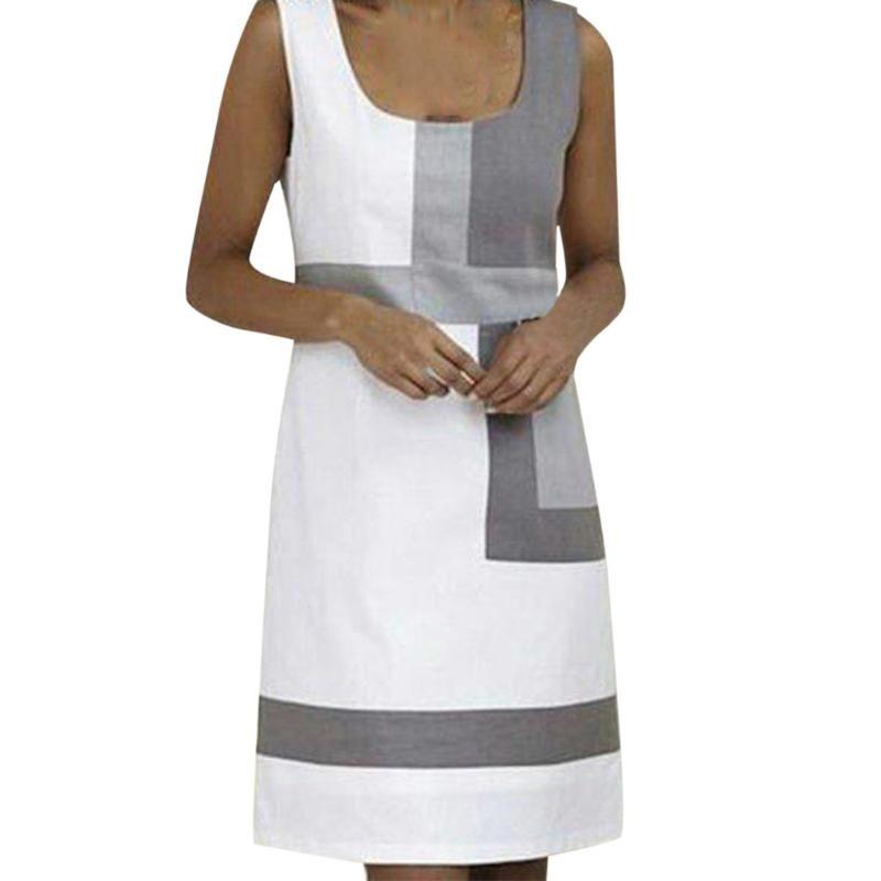 Frauen O-Ansatz Knopf Mini Beach Kleider Sommerfest ärmellos Taschen Kleid beiläufige Strand A-line Kleid Sundress Vestidos #N