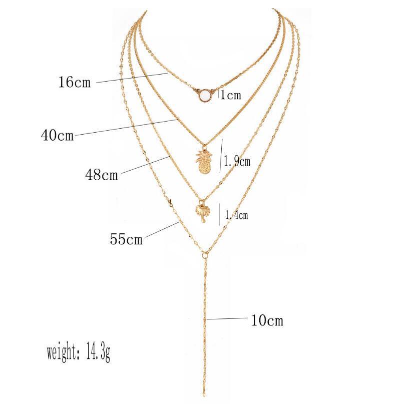 ALYXUY Bohemia многослойный протеиновый камень длинные ожерелья Для женщин сплав ананас кокосовое дерево кулон ожерелье ювелирные изделия подарок