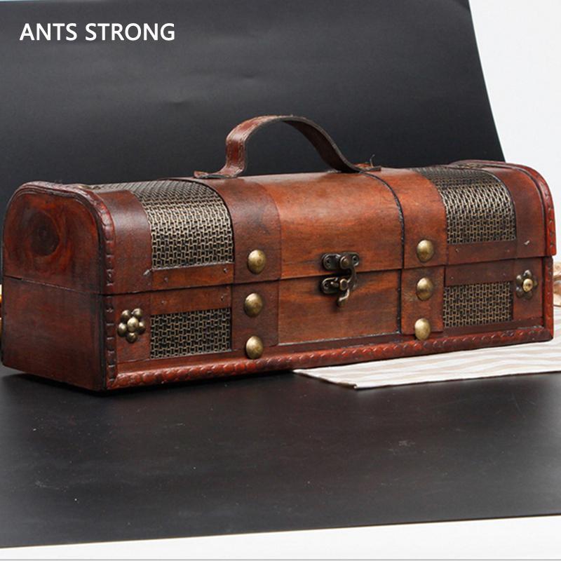 rotwein holz aufbewahrungsbox / retro und made ledernaht ingle flasche weinbox geschenkboxen