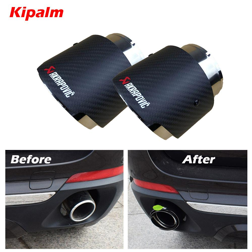 2PCS ماتي ألياف الكربون العادم الخمار تلميح تلميح للحصول على BMW X5 E70 F15 F16 X6 مع AK شعار
