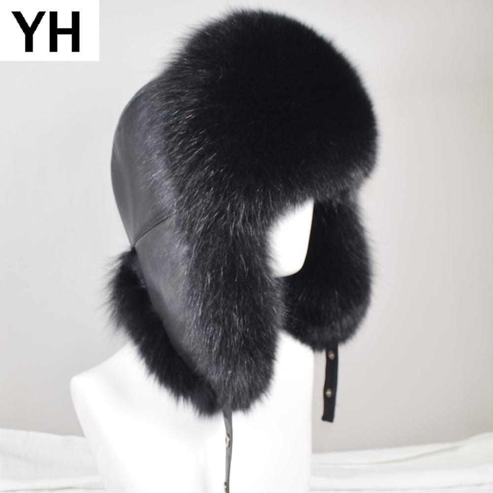 Bombarderos invierno de los hombres al aire libre natural real Fox sombreros de piel caliente suave de lujo de calidad casquillo de la piel del mapache real real de piel de oveja de piel Sombrero Y200110